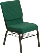 18.5'' Wide Green Patterned Fabric Church Chair With Book Rack And Gold Vein Frame