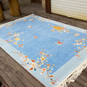 Yilong 6'x9' Blue Flower Hand Knotted Chinese Art Deco Wool Rug Furniture Carpet