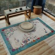 Yilong 4and039x6and039 Blue Handmade Silk Rug Chinese Art Deco Elegant Classic Area Carpet