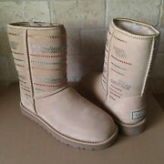 Ugg Classic Short Serape Crystal Bling Sand Suede Boots Size 7 Womens