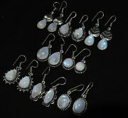 100 Pairs Natural Blue Flash Moonstone 925 Silver Plated Earrings Wholesale Lot