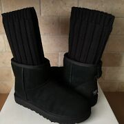 Ugg X Sacai Knit Classic Mini Short Ii Black Suede Boots Size 8 Womens Limited