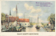 Pc68634 Greeting Postcard. Many Happy Returns. Canal And Sailing Boats