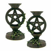 New Pair Of Ivy Pentagram Wiccan Altar Candle Holders 5.5 Cast Resin - Set Of 2