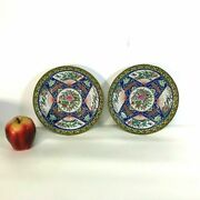 Pair Of 19th C Chinese Export Rose Medallion Plates W/ Cobalt Blue Decoration