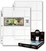 100 Bcw Poly Pages 4 Pockets For Modern Us/world Currency Note Acid Free No Pvc