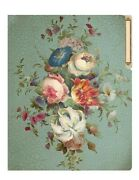 Victorian Trading Co 6 Vintage Posy And Poesie Tole Painted Manila Folders
