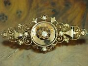 14kt 585 Yellow Gold Art-decó Brooch With Seed Beads Decorations/antique/2,9g