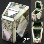 Antique French Napoleon Iii Mother Of Pearl And Abalone Sewing Needle Case