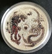 Wow 2018 Perth Mint 1oz Silver Dragon And Tiger Reverse Proof Gem 98.88