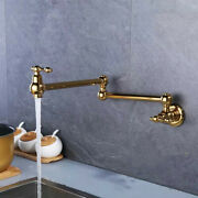 Brass Pot Filler Tap Double-jointed Swing Wall Mount Kitchen Ti-gold Faucet