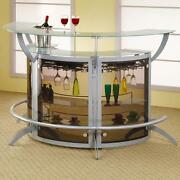 Contemporary Silver Metal And Glass Entertainment Bar Unit