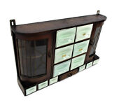 Art Deco Kitchen Spice Herbs Rack Cabinet Porcelain Wood Exquisite Leaded Glass