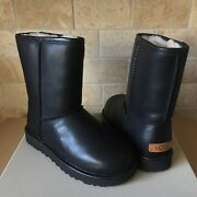 Ugg Classic Short Cashmere Black Water-resistant Leather Fur Boots Size 7 Women
