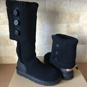Ugg Classic Cardy 100 Cashmere Knit Black Tall / Ankle Boots Size Us 8 Womens