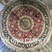 Yilong 6.5and039x6.5and039 Round Hand Knotted Silk Carpets Circular Blanket Area Rug W111c