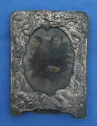Railroad Era Western Tintype Photograph Of White And Chinese Man In Dragon Frame
