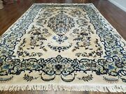 8' X 10' Semi Antique Hand Made India Floral Lamb Wool Rug Carpet Ivory/ Beige