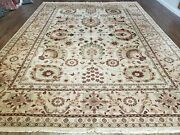 9and039 X 12and039 Hand Made Indian Floral Wool Rug Hand Knotted Carpet Tea Washed Beige