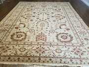 8and039 8 X 11and039 Hand Made Indian Floral Oriental Wool Rug Carpet Tea Washed Beige