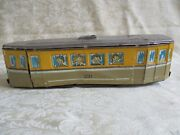 Htf Antique Tin Friction Trolley Train Toy Car 231 With Childrenand039s Faces
