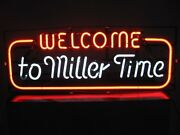 New Welcome To Miller Time Lamp Light Bar Miller Lite Neon Sign 32x24