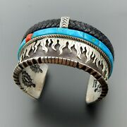 Handmade Sterling Silver Black Leather Coral Turquoise Wide Heavy Cuff Bracelet