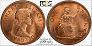 1967 Great Britain One Penny Pcgs Ms64rd Beautiful Toned Coin Low Pop