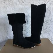 Ugg Samantha Black Suede Fur Over The Knee High Tall Boots Size 7 Womens