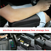 1car Wireless Charger Armrest Box Storage Box Leather Center Console Universal