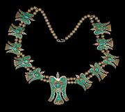 Vintage Turquoise Inlay Peyote Water Bird Sterling Squash Blossom Necklace