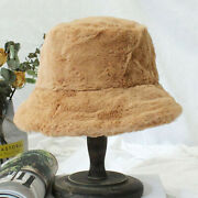 Winter Bucket Hat Women Solid Thick Fur Warm Flat Top Polyester Fedoras Hats