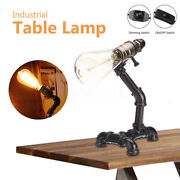 Pipe Table Lamp Vintage Industrial Steampunk Style Iron Desk Light E27 E