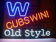 Neon Light Sign 32x24 Chicago Cubs Win W Old Style Beer Bar Artwork Decor Lamp