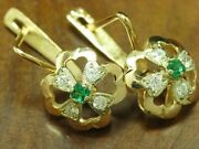 14kt 583 Bicolour Ear Studs With 048ct Zirconia And 016ct Glass Decorations/42g