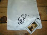 Victorian Trading Co Heirloom F Monogrammed White Silk Scarf
