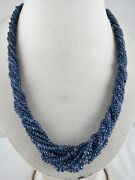 Fine Natural Blue Sapphire Beads Round 8 Line 464 Cts Gemstone Silver Necklace