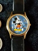 Disney_vintage_seiko By Lorus_ Mickey Mouse Goldtone Watch With Brown Band