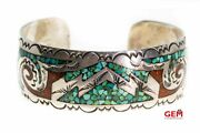 Navajo Open Cuff Turquoise And Coral Inlay 925 Sterling Silver Bangle Bracelet