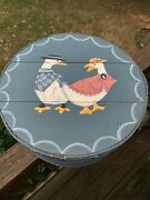 Antique Primitive Goose Duck Amish Hand Painted Large Cheese Box Barrel ❤️tw4j