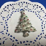 Vtg Gerrys Christmas Tree Pin Brooch Silver With Red Green And Blue Ornaments