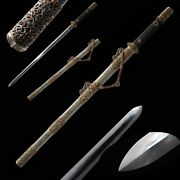 Hand Forged Pattern Steel Feather Pattern Tang Sword Sharp Copper Fittings 0006