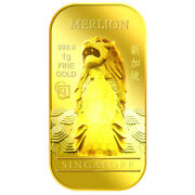 1g X 2 Merlion Classic And National Flower Series 2 Gold Bar/ 999.9 Pure Gold