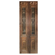 Pair Of 33andrdquo Antique Figural Doors With Iron Inserts Ned1105