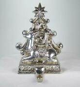 8 Antique Silver Reindeer And Christmas Tree Stocking Holder Hanger