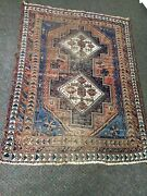 Antique 1900s Tribal Af Shar C.1900and039s Hand Knotted Wool Oriental Rug 4and039 X 6and039