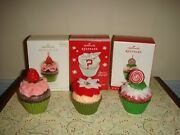 Hallmark 2012 And 2016 Christmas Cupcake 3and7 And 2014 Sweet Surprise Green Ornaments