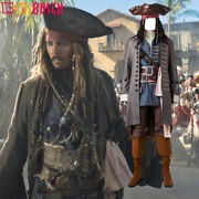 Pirates Of The Caribbean 5 Captain Jack Sparrow Costume Wig Cosplay Halloween
