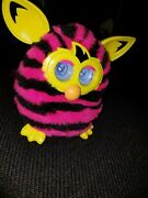 Hasbro Furby Boom Stripes Pink Black Yellow Electronic Interactive Toy Tested