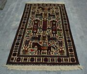 H277 Vintage Afghan Decor Wall Hanging Adam Pictorial Hunting Rug 3and0399 X 6and0392 Ft